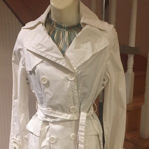 White  or baby blue summer trench jacket